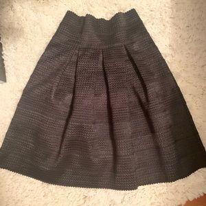 Ann Taylor • Black Bandaged Full A-Line Skirt NWT